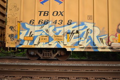 FIXER (TheGraffitiHunters) Tags: street blue white black art car train graffiti colorful paint box tracks spray boxcar freight fixer benched benching