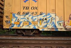 FIXER (TheGraffitiHunters) Tags: street blue white black art car train graffiti colorful paint box tracks spray boxcar freight fixer benched benching