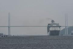 Arrival of a big cruise ship 2 (kmmanaka) Tags: japan nagasaki cruiseship fog rain harbor internationalterminal rose