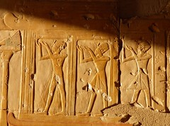 Abydos, Temple of Ramesses II, Chapel K, west wall, figures of king (dr.heatherleemccarthy) Tags: morning shadow sculpture sunlight monument stone architecture temple ancient stonework egypt chapel relief ramesses abydos