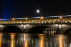Made of Gold (the_wonderer_wanderer) Tags: street bridge moon paris seine gold lights metro pont bercy moonshine quais lightstream lampadaires