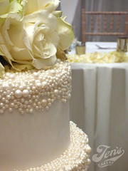 Pearl encrusted cake (Jen's Cakery) Tags: white pearls scatter pearl encrusted