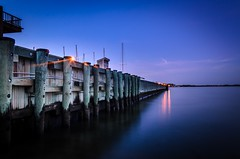 Annapolis Yacht Club (Nikonian Annapolitan) Tags: longexposure sunset water club bay pier nikon purple yacht maryland bluehour annapolis ndfilter d7000