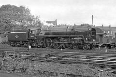 70021 Morning Star arrives light engine (Garter Blue) Tags: zorki blackandwhite bw film shed leeds engine rail railway loco steam britannia morningstar 55b stourton fp3 hunslet roddles