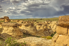What Would I Say (Wayne Stadler Photography) Tags: park travel camping sunset canada rock rural countryside afternoon country places roadtrip explore alberta sacred aboriginal prairies prehistoric formations writingonstone provincial writings southernalberta