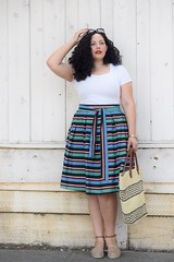 For the Love of Stripes (GirlWithCurves) Tags: curlyhair plussizefashion stripeskirt girlwithcurves plussizeblogger taneshaawasthi