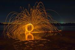 Steel wool spinning (rosieheares) Tags: wood beach steel brisbane spinning wellingtonpoint