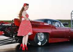 Holly_4698 (Fast an' Bulbous) Tags: santa red england people woman hot sexy ford stockings girl beauty car race speed pose drag evening high pod nikon automobile shoes track power dress outdoor gimp fast babe chick strip heels vehicle thunderbird hotty polkadot stilettos promod doorslammer d7100 flacsh