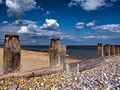 Eastbourne (friendlydrag0n) Tags: ocean uk blue sea summer england sky beach coast seaside south horizon diagonal eastbourne groyne breakwater