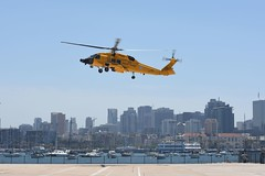 Coast Guard welcomes centennial themed helicopter to San Diego (Coast Guard News) Tags: aviation centennial uscg yellowjayhawk california unitedstates us