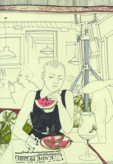 (bogema) Tags: watermellon girl eating cafe rubinstein sketch saintpetersburg