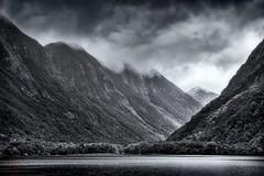 Doubtful Sound. (Bill Thoo) Tags: doubtfulsound southisland newzealand fjordland wilderness sea fjord hills valley monochrome blackandwhite travel sony a900 alpha900 2470mm ngc