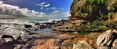 Rock shelf at Warriewood Beach (NinianLif) Tags: winter panorama beach sydney northernbeaches rockshelf warriewoodbeach iphone6
