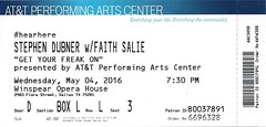 May 4, 2016, Stephen Dubner with Faith Salie - Get Your Freak On, AT&T Performing Arts Center, Winspear Opera House, Dallas, Texas - Ticket Stub (Joe Merchant) Tags: house get freakonomics dallas opera texas with faith 4 performing arts may ticket center stephen your freak author stub att on 2016 dubner salie winspear