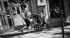 Moms On The Go (TMimages PDX) Tags: road street city people urban blackandwhite monochrome buildings portland geotagged photography photo image streetphotography streetscene sidewalk photograph pedestrians pacificnorthwest avenue vignette fineartphotography iphoneography