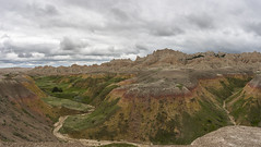 Badlands small pano (s.d.sea) Tags: road park sky terrain nature grass clouds landscape outdoors spring moody pentax cloudy hiking path south national badlands dakota