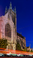 shrine of saint jude thaddeus (pbo31) Tags: sanfrancisco california urban panorama motion color church night dark spring nikon catholic traffic cathedral religion sunday may large panoramic bayarea zion stitched stdominics roadway 2016 lightstream boury pbo31 d810 lowerpacificheights