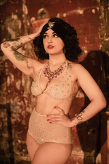 Exotic Ecdysiast (Mark Liddell) Tags: costumes music woman black building brick stockings girl fashion wall architecture vintage dark hair naked nude scotland hall necklace clothing glamour theater tits kim boobs theatre handmade glasgow stage headscarf bra style fishnet tights historic tattoos jewellery sparkle showgirl illusion curly hollywood turban cabaret cleavage performer sparkly burlesque wavy oldest rhinestones exposed mystic alternative britannia panopticon surviving khaos nudeillusion britanniapanopticon kimkhaos britanniapanopticonmusicalhall