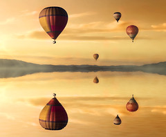 Ride in Peace (dommylive) Tags: water reflections balloons adobephotoshop hotairballoons pixabay
