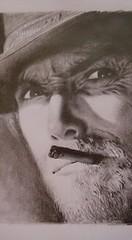 Clint Eastwood (DiegoCarnevale) Tags: portrait west grigio ombra ombre clint bianco ritratto nero matita disegno viso eastwood matite sigaro pastello pastelli carboncino