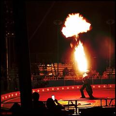 Fiery finale (James Mundie) Tags: fire circus squareformat fireeater bigtop mundie copyrightprotected tentshow jamesmundie kellymillercircus jamesgmundie profjasmundie jimmundie copyrightjamesgmundieallrightsreserved americasoneringwonder