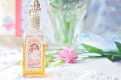 1930 perfume bottle (prettyredglasses.com) Tags: old flowers stilllife vintage diy perfume lace feminine romance romantic paperflowers manualidades shabbychic bodegones hechoamano