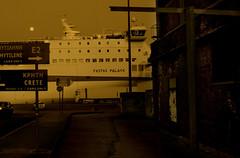 port's gloaming hour (Xipeteon) Tags: moon ferry port greece passenger piraeus gloaming evenjng