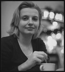1296913120 (Yuriy Sanin) Tags:    2008 yuriy sanin blackandwhite bw women cap  coffee  cafe flexaretautomat portret medium format   lights