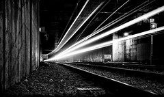 Lightscape Bergen Stage V (Haraldinhio) Tags: blackandwhite bw monochrome landscape city rails railway lighttrails bergen norway composition contrast leadinglines streetphotography longexposureoftheday