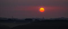 Sunrise over Ldenscheid (Markus Trienke) Tags: sunrise sauerland morning canon eos 70d sun red foggy misty clouds city church tower ldenscheid landscape trees forrest mrkischerkreis schneberge