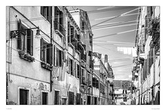 Clotheslines in Venice (sdc_foto) Tags: street morning venice blackandwhite bw italy contrast pentax clotheslines 2009 pentaxart sdcfoto