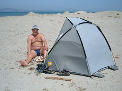 With my shelter on Tingaki Beach, Kos (pj's memories) Tags: beach kos speedos bulge tanthru kiniki
