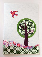 All-purpose handmade card 86 (tengds) Tags: flowers red orange brown tree green bird collage asian japanese scenery card papercraft japanesepaper handmadecard yuzenwashi japanesemotif asianmotif tengds allpurposecard