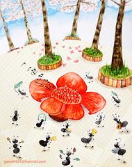 Spring celebration (GenieInApril) Tags: illustration spring celebration ants illustrator cottontree childrenillustration