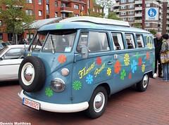The obligatory hippie van (Schwanzus_Longus) Tags: auto red flower bus vw truck germany volkswagen samba power outdoor german micro type vehicle hippie van bully kombi transporter t1 nordenham fahrzeug bulli typ type2 typ2