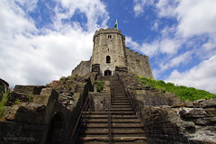 Cardiff | Castle Ascension 01 (Christopher James Botham) Tags: cloud sun sunlight castle stone wales architecture clouds daylight day cloudy masonry cardiff medieval norman keep welsh defense turret crenelation