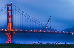 the park ranger's big project (pbo31) Tags: sanfrancisco california bridge blue dog color fog spring construction nikon over foggy may 101 goldengatebridge walker layer bluehour presidio crain crissyfield d800 2015 boury pbo31