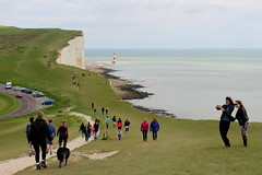 Taking a Selfie (timothyhart) Tags: uk england people lighthouse landscape sussex southcoast sevensisters whitecliffs englishchannel beachyhead selfie belletout