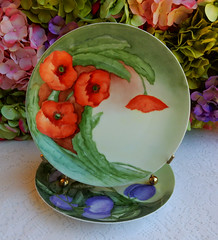 Antique Weimar German Porcelain Hand Painted Plates ~ Fruit ~ Poppy (Donna's Collectables) Tags: fruit weimar hand antique painted german poppy plates porcelain ~