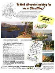 Hertz rent a car ad, 1951 (Tom Simpson) Tags: travel vacation ads advertising ad advertisement 1950s hertz 1951 rentalcar vintagead hertzrentacar