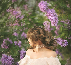 Whoosh (Michelle.A.M.) Tags: portrait woman flower color classic floral girl beauty vintage hair happy movement model long lace free curls mysterious bloom serene graceful wisteria whimsical whirl