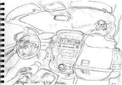 Dans la voiture de Jean-Louis sur la route de La Gacilly (Croctoo) Tags: croctoo croquis croctoofr crayon auto transports