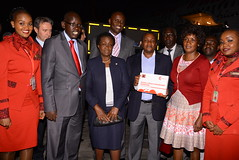 PS Education Belio Kipsang (second left) JKUAT VC Mabel Imbuga PS ICT and Innovation Victor Kyalo and Chief Executive TSC Nancy Macharia after receiving DL