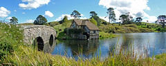 Hobbiton, the Shire 01 (brentflynn76) Tags: travel bridge newzealand lake mill water landscape scenic lordoftherings shire hobbit middleearth waterscape hobbiton