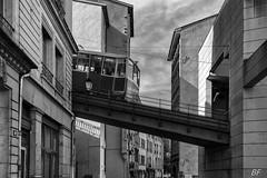 Tram or plane ??? (poupette1957) Tags: street city travel urban house black detail art monument architecture canon french landscape town noir photographie tram curious rue ville graphisme lyonstreet grandangle atmosphre noieetblanc humanisme imagesingulires