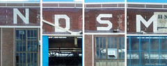 Collage of the letters N D S M (Johan Konz) Tags: building heritage netherlands architecture industrial outdoor text ndsm amsterdamnoord formershipyard formerweldinghall