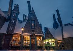 Hogsmeade at Night (NonFace) Tags: fiction window night dark lights distorted sony universalstudios themepark hogsmeade rx100m3