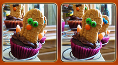 Thanksgiving Day Treats 1 - Parallel 3D (DarkOnus) Tags: thanksgiving november macro closeup lumix stereogram 3d cookie day pennsylvania treats panasonic stereo cupcake parallel stereography buckscounty dmcfz35 darkonus