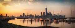 NJ to NYC (iShootPics) Tags: morning light sun water sunrise reflections boats dock cityscape shore newyorkskyline sonya7r
