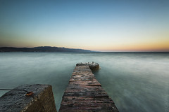 Tavronitis, Crete. Long exposure at dawn (sfrancis23) Tags: bigstopper lee filter sea coast ocean longexposure dawn sun 1424mm sw150 crete greece beach nikon d810 blue green landscape seascape water concrete wood earlymorning sunrise calm ngc